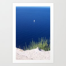 Lonely sailboat off the Mediterranean coast Art Print
