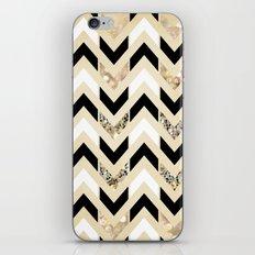 Black, White & Gold Glitter Herringbone Chevron on Nude Cream iPhone & iPod Skin