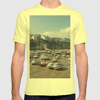 Boats In Tenby Harbour A… Mens Fitted Tee Lemon SMALL