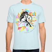 Comic Art: Wild Hearts Mens Fitted Tee Light Blue SMALL