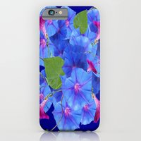iPhone Cases featuring Blue & Fuchsia Purple Morning Glories Garden by sharlesart