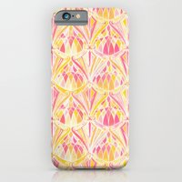 iPhone Cases featuring Art Deco Pattern in Pink and Orange by micklyn