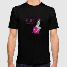 Alien Invasion Black SMALL Mens Fitted Tee
