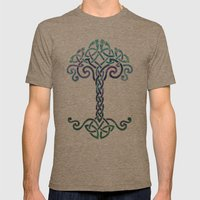 Woven Tree Of Life - Coo… Mens Fitted Tee Tri-Coffee SMALL
