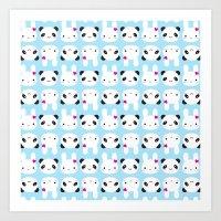 Super Cute Kawaii Bunny and Panda Art Print