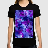 Modern Blue Purple Water… Womens Fitted Tee Black SMALL