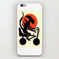 iPhone & iPod Skin featuring alien on a chopper by ronnie mcneil
