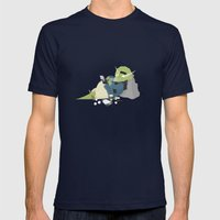 Hipster Dinosaur adds the latest chapters to his novel Mens Fitted Tee Navy SMALL