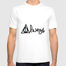 Always, Deathly Hallows, Harry Potter Mens Fitted Tee White SMALL