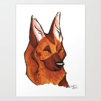 Brush Breeds-German Shep… Art Print