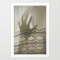 The Boy Behind The Curtain Art Print