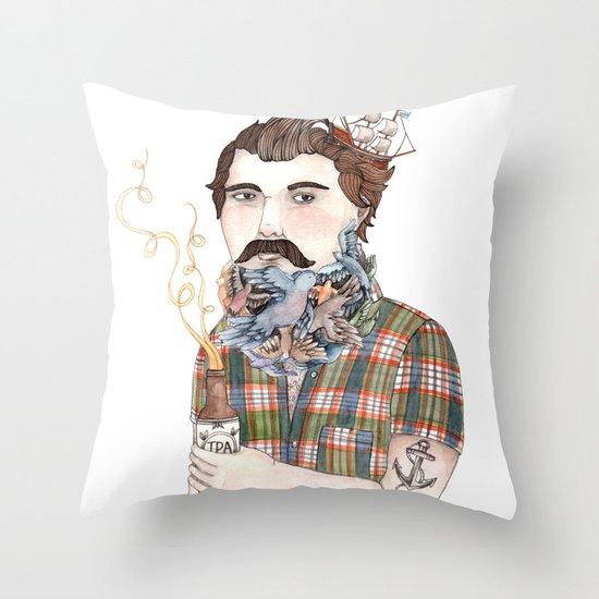 Flock of Beards Throw Pillow