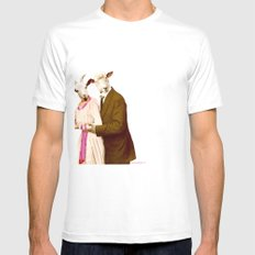 Mr & Ms Sheep White Mens Fitted Tee SMALL