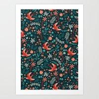 Flying Swallows Art Print