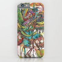 iPhone & iPod Case featuring skeleton swimming by Katie Owens
