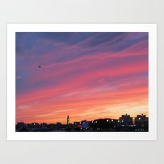 Sunset over the Hudson Art Print