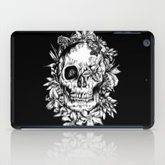 floral skull drawing black and white 2 iPad Case