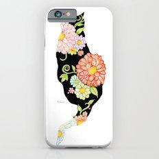 Exotic Floral Black Cat Silhouette iPhone 6 Slim Case