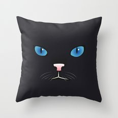 Little black cat Throw Pillow