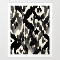 Black Ikat Diamonds Art Print