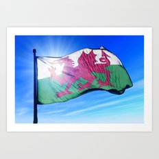 Wales flag waving on the wind Art Print