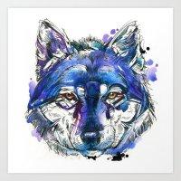 Indigo Wolf Art Print