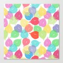 Watercolor Heart Leaves Canvas Print