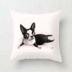 The Little Fat Boston Terrier Throw Pillow