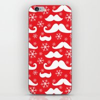 Mustaches and Snowflakes iPhone & iPod Skin