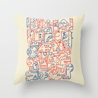 Tribal Animals Throw Pillow