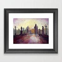 Prague, watercolor explorations in violet  Framed Art Print