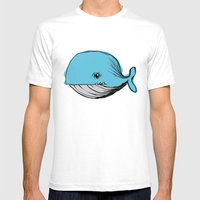 blue whale Mens Fitted Tee White SMALL