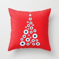 Christmas Evil Eye Tree Throw Pillow
