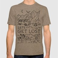 Lets Get Lost (Bw) Mens Fitted Tee Tri-Coffee SMALL