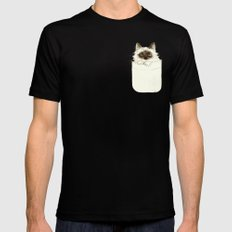 Puss in Pocket (B) SMALL Mens Fitted Tee Black