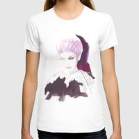 Ethno fashion illustration Womens Fitted Tee White SMALL