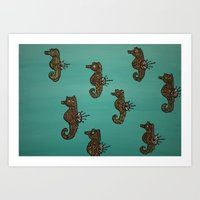 Psychedelic Seahorses Art Print