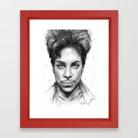 Prince Watercolor Black and White Portrait Framed Art Print