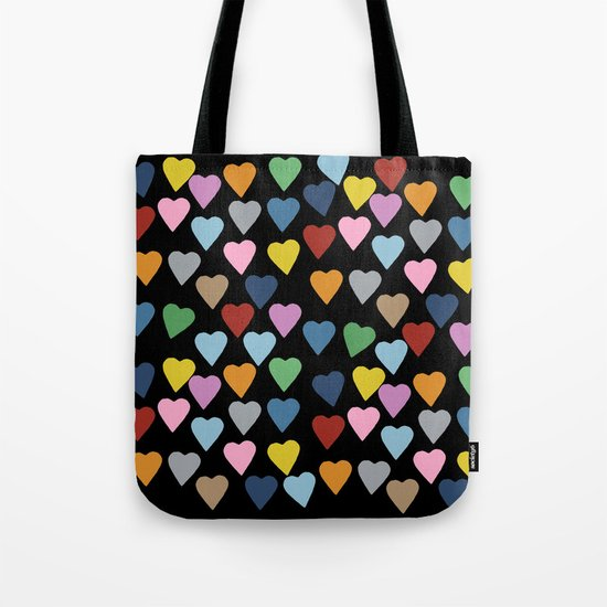 Hearts #3 Black Tote Bag