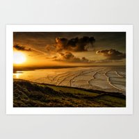 Surfer Sunrise Art Print