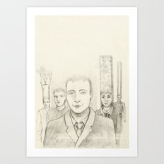 Cubic heads Art Print