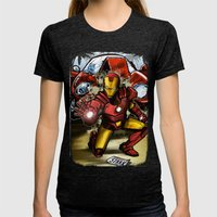 Man of Iron Womens Fitted Tee Tri-Black SMALL