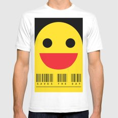 smiling Mens Fitted Tee White SMALL
