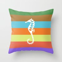 Sea Side Story: Seahorse… Throw Pillow