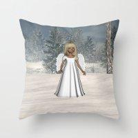 Little Winter Angel Throw Pillow