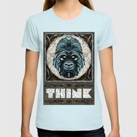 Think Womens Fitted Tee Light Blue SMALL