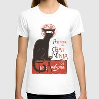 cat T-shirts featuring A French Ninja Cat (Le Chat Ninja) by Kyle Walters