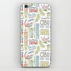hand lettered italian word pattern iPhone & iPod Skin