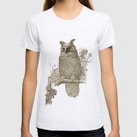 Vintage Owl Womens Fitted Tee Ash Grey SMALL