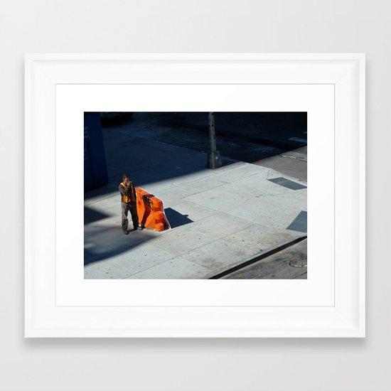 Smoking Construction Worker Framed Art Print